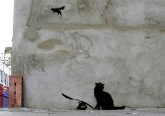 Banksy Cat and Flying Mouse B141