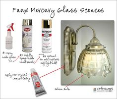 How To Paint A Light Fixture To Look Like Mercury Glass - using spray paint and Rub n Buff. The Silver Leaf Rub and Buff is genius for covering dates brass fixtures - wish I had seen this years ago before I painted my dining room chandelier. Looking Glass Spray Paint, Krylon Looking Glass, Spray Paint Vases, Glass Light Fixtures, Glass Pendant Light, Glass Pendants, Mercury Glass Chandelier, Diy Chandelier, Rub N Buff