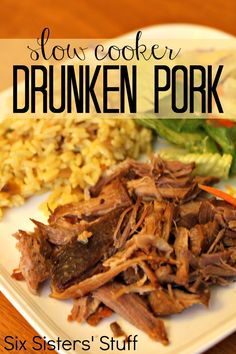 Slow Cooker Drunken Pork  *6 PORK CHOPS *12 OZ BEER *1/2 CUP BROWN SUGAR *1/3 CUP KETCHUP  Cook on low 6-8 hours or 3-4 hours on high // serve with mashed potatoes or rice