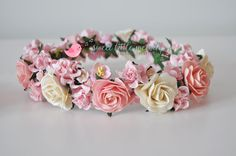 Pink and Cream Flower Crown Flower Headband by SweetLittleMelody