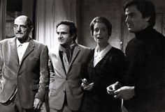 LuisBuñuel, FrançoisTruffaut, CatherineDeneuve, and FrancoNero on the set of Tristana.
