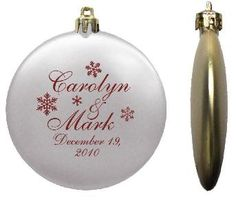 Wedding Favor Ornaments Flat Shatterproof $2.89