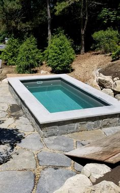 Landscaping coming along- a very natural woodland setting for Soake Pool in Southern NH. Above Ground Pool Ladders, Best Above Ground Pool, In Ground Pools, Small Backyard Design, Small Backyard Patio, Backyard Patio Designs, Natural Swimming Pools, Swimming Pools Backyard, Pool Landscaping