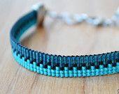 Items similar to Ombre Teal Bracelet // Beaded Loom Bracelet // Adjustable // Friendship Bracelet on Etsy Loom Bracelet Patterns, Bead Loom Bracelets, Bead Loom Patterns, Jewelry Patterns, Pandora Bracelets, Seed Bead Jewelry, Beaded Jewelry, Jewellery, Beaded Bracelets