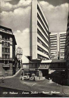 "icancauseaconstellation: "" Luigi Moretti, Corso Italia, Milano "" View this on the map Modern Architecture Design, Facade Architecture, Beautiful Architecture, Famous Architects, Brutalist, Landscape, Architectural Photography, Architectural Models, Facades"