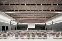 Gensler L.'s Expansion of the Grand Hyatt Incheon suspended acoustic panels Interior Design Magazine, Office Interior Design, Office Interiors, Meeting Hall, Meeting Rooms, Corporate Office Decor, Corporate Offices, Hotel Conference Rooms, Office Open Plan