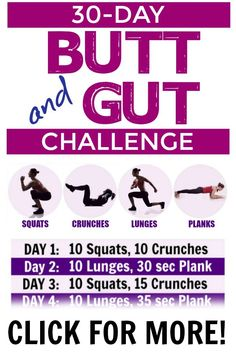30 Day Workout Challenge To Tone And Tighten Your Butt Abs Click The