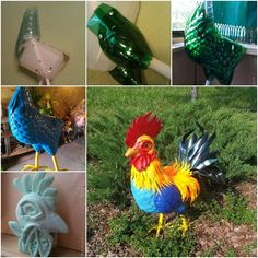 DIY Beautiful Cock from Recycled Plastic Bottles It's really amazing to recycle plastic bottles to make colorful animals for garden deocration. It's getting really artistic, and a challenge for us to learn. Reuse Plastic Bottles, Plastic Bottle Flowers, Plastic Bottle Crafts, Plastic Spoons, Recycled Bottles, Recycled Crafts, Recycled Materials, Recycling, Reuse Recycle