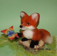 Купить Радуга на лапке - лисенок, скульптура лисенок, бабочка, радуга, авторская работа, интерьерная композиция