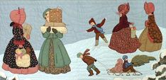 "#5 ""Christmas Collection"" The Shoppers Pattern $20.50.  Christmas shoppers talk on the snow covered hill while children pull the sleigh and slide down the hill. Shopping  bags and boxes are filled with gifts. Shadow applique is used for the sky and snow covered hill."