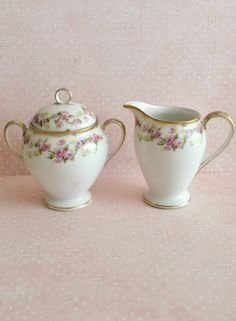Beautiful Antique Elite Limoges Porcelain Cream and Sugar with