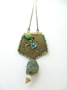 Fragments in green VIII mixed media necklace by Cesart64 on Etsy