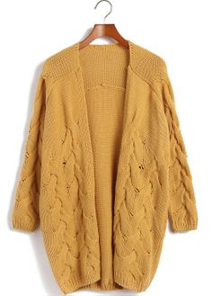 Yellow Long Sleeve Cable Knit Cardigan Sweater <3