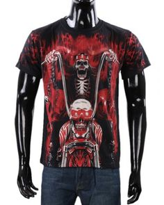 Fashion Loose Fit Round Neck 3D Flame Skull Pattern Short Sleeve Cotton Blend T-Shirt For Men