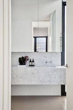 Sleek marble bathroom