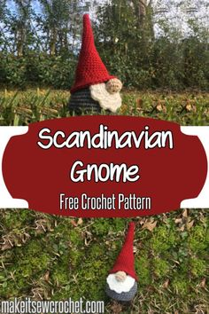 Free crochet pattern from Make It Sew Crochet for a Scandinavian style gnome decoration or toy. Free crochet pattern from Make It Sew Crochet for a Scandinavian style gnome decoration or toy. Christmas Crochet Patterns, Crochet Amigurumi Free Patterns, Crochet Dolls, Free Crochet, Crochet Christmas Hats, Crochet Santa, Crochet Angels, Crochet Ornaments, Crochet Snowflakes