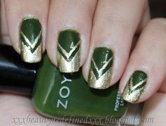 BeautyRedefined by Pang: Green and Gold Chevron Nails Look and Tutorial