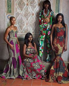 African Textiles. Beautiful women! #africantextiles #africanprints #bright #colorful #longdresses #strapless #pants #casualchic