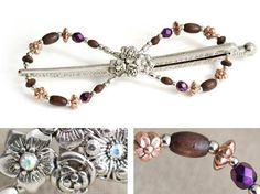 Lilla Rose Inc - Flower Blossom Medley complete with this unique arrangement of wood, purple iris, and copper flower beads