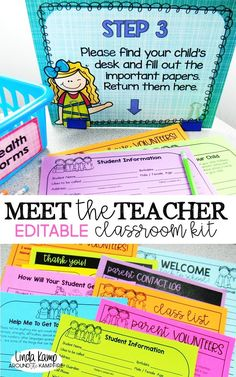 Back to school night can be as overwhelming as it is exciting.  Take the stress out of open house with this completely editable classroom kit. Collect the info you need with 10 different parent forms. Step-by-step parent procedure signs and table tents ensure that parents know what to do while you meet new students. Includes an adorable giving tree & back to school student gifts, too!  Use this kit to organize, communicate, and manage Meet the Teacher night like a pro!