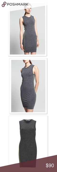 "T by Alexander Wang Women's Mohair Jersey Dress Grey sleeveless dress from T by Alexander Wang in a lightweight jersey fabric. Cut with a form fitting, bodycon style fit. An extra layer of fabric to the hemline gives a layered effect, whilst a raised visible seam to each side in vivid yellow highlights the silhouette and adds extra definition. Featuring a high back and a jewel neckline. Worn twice.  Measurements: Approx 16"" across underarms  Approx 35.5"" in length T by Alexander Wang Dresses…"