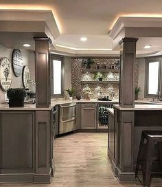 31 Amazing Kitchen Design Ideas For Your Modern Home Design - Tips for Renovating it - In case you want a few thoughts about your kitchen remodelling, you need to know just the way to discover great tools. You can decide to take to house Farmhouse Kitchen Cabinets, Basement Kitchen, Home Decor Kitchen, New Kitchen, Long Kitchen, Kitchen Interior, Rustic Kitchen, Basement Ideas, Decorating Kitchen