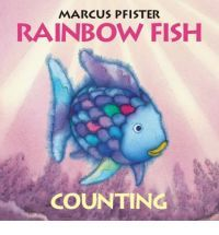 """Rainbow Fish Counting"" by Marcus Pfister.    Based on the author's picture-book for older children, ""The Rainbow Fish.""  This book is well-suited to babies and teaches about numbers."