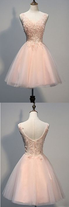 Short Open Back Pearl Pink Homecoming Dresses With Appliques