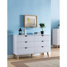 White 6 Drawer Dresser, Double Dresser, Dresser With Mirror, Dresser Drawers, Bedroom Furniture Stores, Furniture Deals, Home Furniture, Furniture Companies, Kitchen Furniture