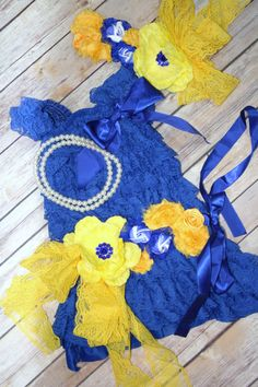 Petti Lace Romper Dress Blue Yellow Set With by CuddleBunnyCouture, $45.00