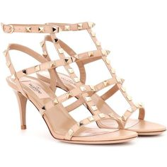 Valentino Valentino Garavani Rockstud Patent Leather Sandals ($995) ❤ liked on Polyvore featuring shoes, sandals, neutrals, patent sandals, valentino sandals, beige patent leather sandals, beige patent shoes and valentino shoes