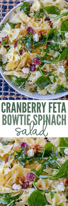 Cranberry Feta Bowtie Salad with Spinach is an easy salad perfect for potlucks and holidays with an easy dijon vinaigrette dressing, raisins and walnuts. Spinach Pasta, Spinach And Feta, Vegetarian Recipes, Cooking Recipes, Healthy Recipes, Vegetarian Salad, Antipasto, Ceasar Salad, Feta Salad