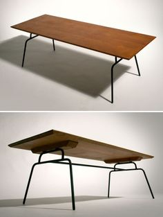 Paul-mcCobb, Planner wrought iron and wood coffee table, 1950's