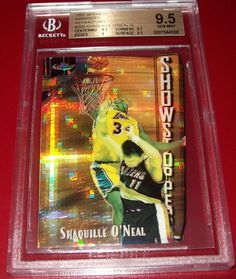 1997-98 Shaquille O'neal 19/74 Topps Finest Embossed Refractor BGS 9.5 GEM MINT #LosAngelesLakers