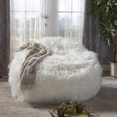 Lachlan Furry Bean Bag - White - Christopher Knight Home Living Room Seating, My Living Room, Living Room Chairs, Dining Chairs, Lounge Chairs, Bedroom Chair, Room Ideas Bedroom, Bedroom Decor, Large Bean Bag Chairs