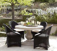 Geneva Pedestal Table & Palmetto Chair Dining Set  - Black #potterybarn