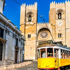 Historic yellow tram of Lisbon, Portugal. Historic yellow tram in front of the Lisbon Cathedral, Portugal stock image Portugal Vacation, Portugal Travel, Lonely Planet, Lisbon Tram, Lisbon Tours, Destinations, Belem, City Break, Andalucia