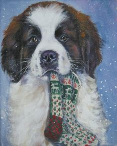 Items similar to St Saint Bernard dog art portrait canvas PRINT of LA Shepard painting xmas on Etsy Christmas Puppy, Christmas Cards, Christmas Stocking, St Bernard Puppy, Canvas Prints, Art Prints, Big Dogs, Dog Pictures, Saints