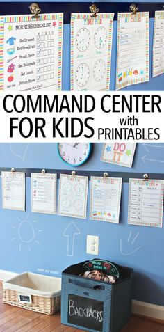Help your kids navigate each day with this colorful command center! Make a central place for chore charts, routine checklists, and more to help kids with visual reminders. Perfect for back to school and includes a printable set you can customize! This rea Morning Checklist, Family Command Center, Command Centers, Mason Jars, Charts For Kids, Chore Charts For Older Kids, School Organization, Organization Ideas, Organization Station