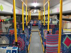 The Reykjavik Underground Yarnstormers yarnbombed a bus for Culture Night Aug 18 2012 in Reykjavik , Iceland . 30 knitters and crocheters worked for 6 weeks to make the installation . It took 20 ...