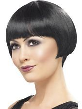 Womens Ladies Girl Fantasy 1920's Classy Black Flapper Short Bob Wig Sexy Party