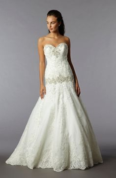 Sweetheart A-Line Wedding Dress  with Dropped Waist in Lace. Bridal Gown Style Number:32780769