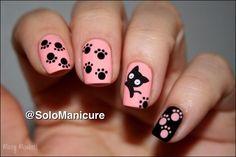 Pattes de chat nail art by Mary Monkett - Nailpolis: Museum of Nail Art Cat Nail Art, Animal Nail Art, Cat Nails, Pink Nails, Black Nails, Fancy Nails, Pretty Nails, Nails For Kids, Cute Nail Designs