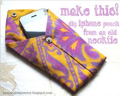 Upcycled necktie iphone pouch case tutorial by Bespangled Jewelry