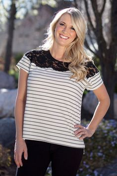 Love At First Sight Lace Tee. What more could a girl ask for? Black, white, and lace? Yes, please!