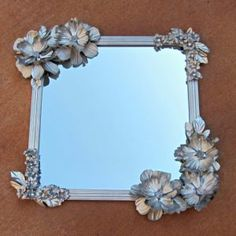 """Clever Dollar Store Ideas That Will Have You Saying, """"How'd They Think Of That?"""" Make this Anthropologie-inspired mirror with a dollar-store mirror and silk flowers.Make this Anthropologie-inspired mirror with a dollar-store mirror and silk flowers. Diy Projects To Try, Crafts To Make, Fun Crafts, Arts And Crafts, Craft Projects, Craft Tutorials, Dollar Store Mirror, Mirror Store, Flower Mirror"""
