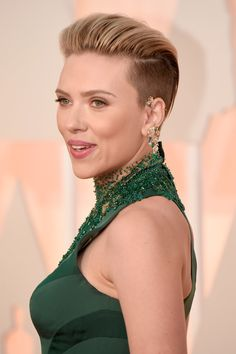 A bold yet inspiring hairstyle rocked by Scarlett Johansson.