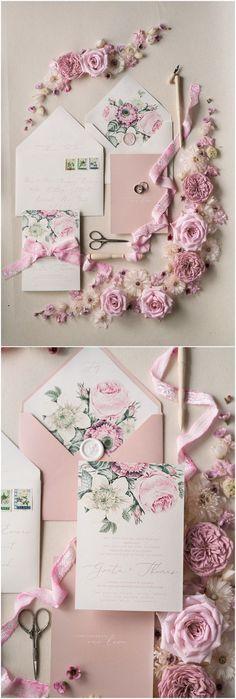 Vintage pink and green wedding invitations 02BOTRCZ