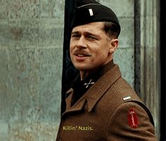 "Brad Pitt in ""Inglourious Basterds"" 2009. Directed by Quentin Tarantino."