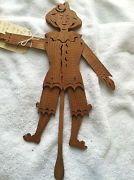 Vintage Americana Folk Art  Handcrafted Wood Marionette Figure Unique & Works